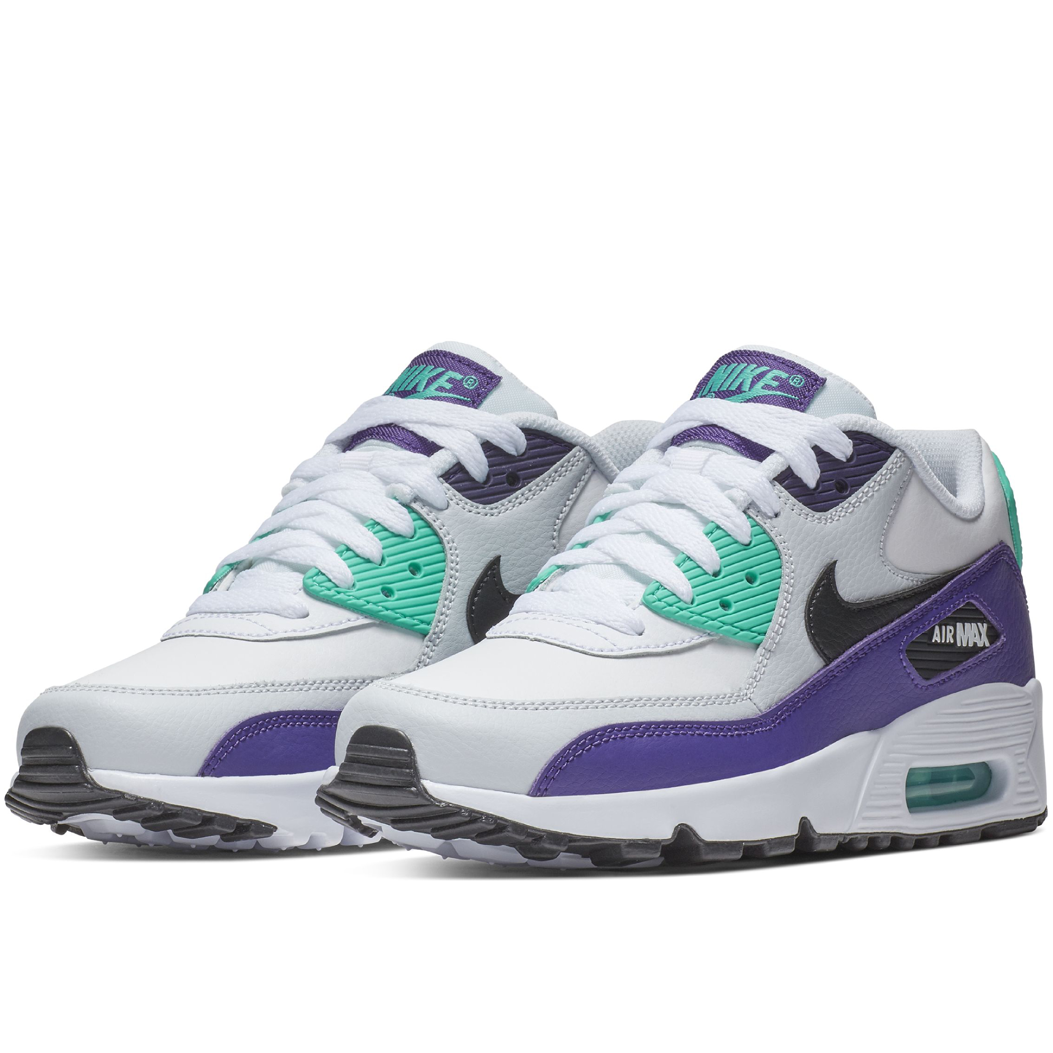 newest collection 6a9b3 202a6 Подростковые кроссовки Nike Air Max 90 Leather (GS) White Black-Hyper Jade